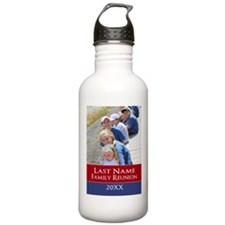 Family Reunion Photo Red BLue Water Bottle