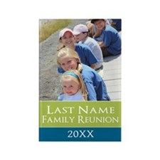 Family Reunion Photo Lime Teal Magnets