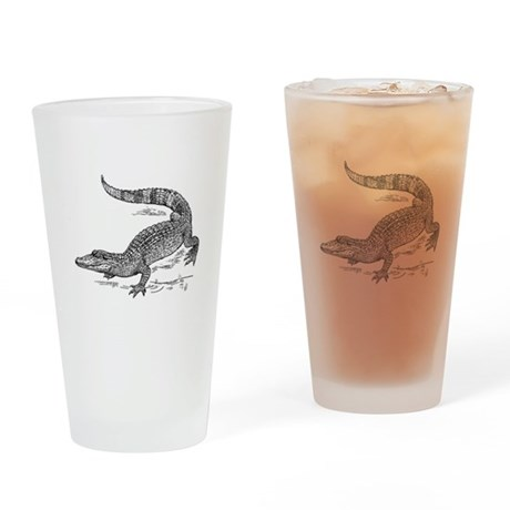 Crocodile Sketch Drinking Glass