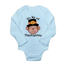 Its My 1st Thanksgiving Pilgrim Monkey Body Suit