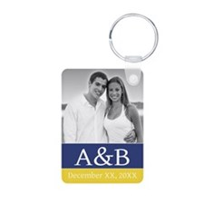 Wedding Monogram Navy Yellow Keychains