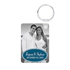 Wedding Photo Blue Keychains