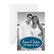 Wedding Photo Blue Greeting Cards