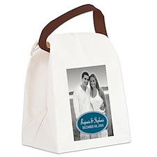 Wedding Photo Blue Canvas Lunch Bag