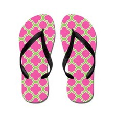Quatrefoil Pattern Pink and Lime Green Flip Flops