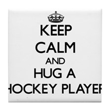 Keep Calm and Hug a Hockey Player Tile Coaster