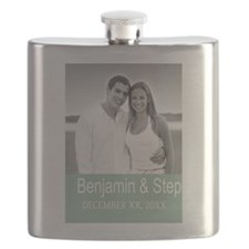 Wedding Photo Mint White Flask