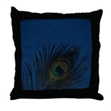 Dark Blue Peacock Feather Throw Pillow