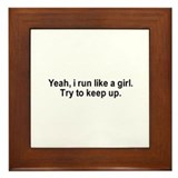 Yeah, I run like a girl. Try to keep up. / Gym hum