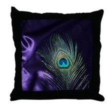 Purple Peacock Feather Throw Pillow