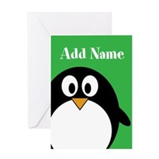 Modern Penguin Green Greeting Cards