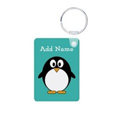 Modern Penguin Teal Keychains