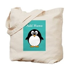 Modern Penguin Teal Tote Bag