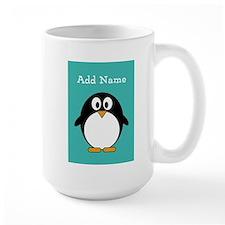 Modern Penguin Teal Mugs