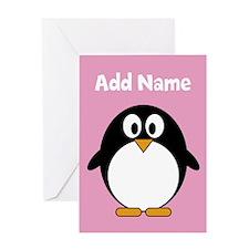 Modern Penguin pink Greeting Cards
