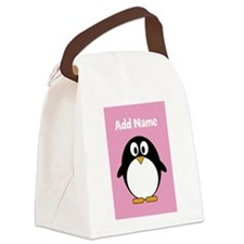 Modern Penguin pink Canvas Lunch Bag
