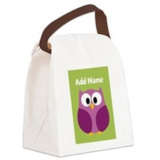 Modern Owl Lime Canvas Lunch Bag