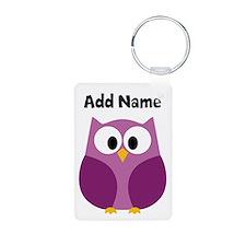 Modern Owl Purple Keychains