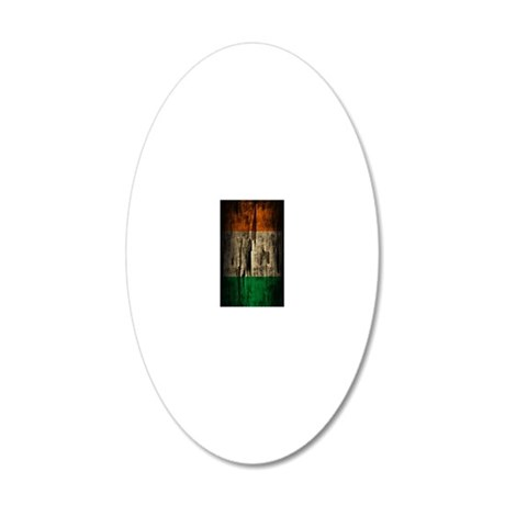 Flag of Ireland Grunge Paint 20x12 Oval Wall Decal