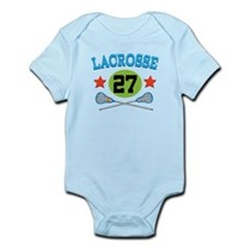 Lacrosse Player Number 27 Infant Bodysuit