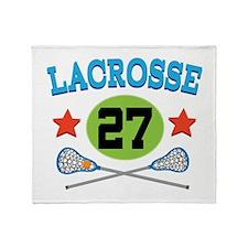 Lacrosse Player Number 27 Throw Blanket