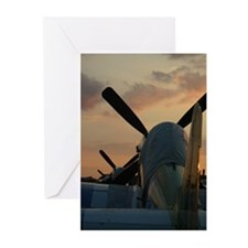 P-51 mustangs sunset Greeting Cards (Pk of 10)