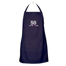 50 now the fun starts Apron (dark)