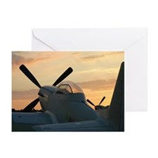 P-51 mustangs sunset 2 Greeting Cards (Package of