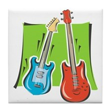 guitar and bass stylized Tile Coaster