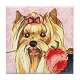 Yorkie Rose Tile Coaster