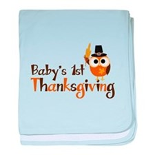 Baby's 1st Thanksgiving Owl baby blanket
