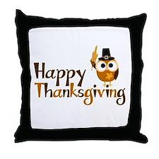 Happy Thanksgiving Owl Throw Pillow