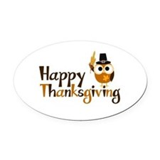 Happy Thanksgiving Owl Oval Car Magnet