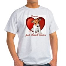 Jack Russell Heart Ash Grey T-Shirt