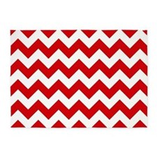 Red And White Chevron Pattern 5'X7'area Rug