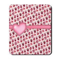 Pearl Heart and Owls Mousepad