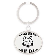 One Man Wolf Pack Oval Keychain