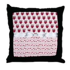 Dancing Hearts Owls Throw Pillow