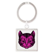 Cheshire Cat Pink Fill Square Keychain