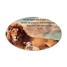 greeting card lion and lamb Oval Car Magnet