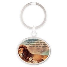 greeting card lion and lamb Oval Keychain
