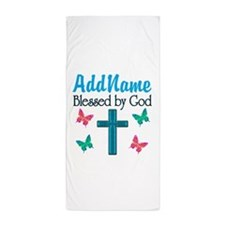 BLESSED BY GOD Beach Towel
