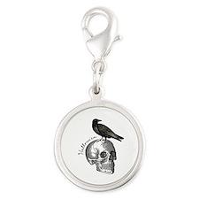 Halloween Raven Skull Silver Round Charm