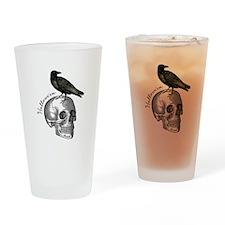 Halloween Raven Skull Drinking Glass