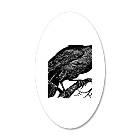 Vintage Raven in Tree Illustration 20x12 Oval Wall