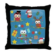 Christmas Owls Throw Pillow
