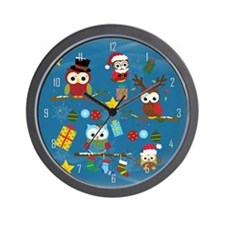 Christmas Owls Wall Clock