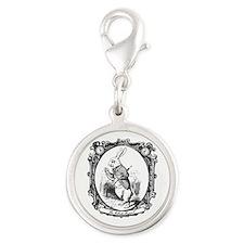 The White Rabbit Silver Round Charm