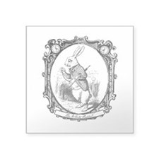 "The White Rabbit Square Sticker 3"" x 3"""