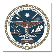 "Marshall Islands COA Square Car Magnet 3"" x 3"""